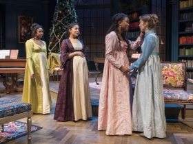Milwaukee Repertory Theater presents Miss Bennet: Christmas at Pemberley in the Quadracci Powerhouse from November 13 – December 16, 2018.  Left to Right: Margaret Ivey, Sarai Rodriguez, Netta Walker, Rebecca Hurd.