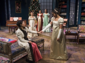 Milwaukee Repertory Theater presents Miss Bennet: Christmas at Pemberley in the Quadracci Powerhouse from November 13 – December 16, 2018.  Left to Right: Deanna Myers and Margaret Ivey.