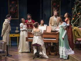 Milwaukee Repertory Theater presents Miss Bennet: Christmas at Pemberley in the Quadracci Powerhouse from November 13 – December 16, 2018.  Left to Right: Jordan Brodess, Margaret Ivey, Yousof Sultani, Rebecca Hurd, Deanna Myers, Fred Geyer, Sarai Rodriguez, Netta Walker.