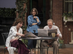 Milwaukee Repertory Theater presents the World Premiere of One House Over in the Quadracci Powerhouse from February 27 – March 25, 2018. Left to Right: Elaine Rivkin, Jeanne Paulsen, Mark Jacob