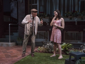 Milwaukee Repertory Theater presents the World Premiere of One House Over in the Quadracci Powerhouse from February 27 – March 25, 2018. Left to Right: Mark Jacoby and Zoë Sophia Garcia