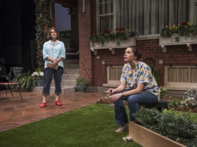 Milwaukee Repertory Theater presents the World Premiere of One House Over in the Quadracci Powerhouse from February 27 – March 25, 2018. Left to Right: Jeanne Paulsen and Zoë Sophia Garcia