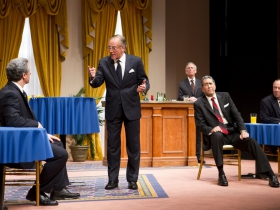 (L – R) – Brit Whittle, Mark Jacoby, (back row) Martin L'Herault, Steve Sheridan, and Jeff Steitzer in Milwaukee Repertory Theater's 2014/15 Quadracci Powerhouse world premiere production of Five Presidents.