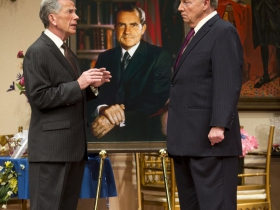 (L – R) – Martin L'Herault and Jeff Steitzer in Milwaukee Repertory Theater's 2014/15 Quadracci Powerhouse world premiere production of Five Presidents.