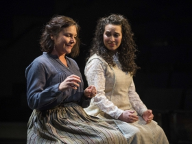 Milwaukee Repertory Theater presents Our Town in the Quadracci Powerhouse from April 10 – May 13, 2018. Left to Right: Elizabeth Ledo and Rana Roman