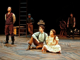 (L-R) Tom Story, Andy Paterson, Noah Zachary, Joanna Howard, and Arturo Soria in Milwaukee Repertory Theater's 2014/15 Quadracci Powerhouse production of Peter and the Starcatcher.