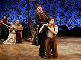 (L-R) José Restrepo, Andy Paterson, Nick Vannoy, Tom Story, and Noah Zachary in Milwaukee Repertory Theater's 2014/15 Quadracci Powerhouse production of Peter and the Starcatcher.