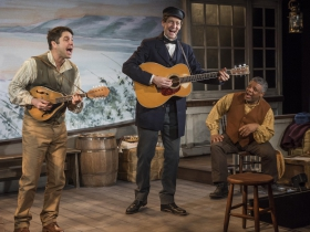 Milwaukee Repertory Theater presents Mark Twain's River of Song in the Stacker Cabaret from January 18 – March 17, 2019.  L to R: Spiff Weigand, David Lutken, Harvy Blanks