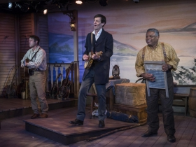 Milwaukee Repertory Theater presents Mark Twain's River of Song in the Stacker Cabaret from January 18 – March 17, 2019. L to R: Spiff Weigand, David Lutken, Harvy Blank