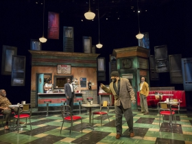 Memphis (Raymond Anthony Thomas), Risa (Malkia Stampley), Sterling (Chiké Johnson), Hambone (Frank Britton) and Holloway (Michael Anthony Williams) in Milwaukee Repertory Theater's production of August Wilson's Two Trains Running April 16 – May 12, 2019