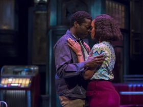 Sterling (Chiké Johnson) and Risa (Malkia Stampley) in Milwaukee Repertory Theater's production of August Wilson's Two Trains Running April 16 – May 12, 2019
