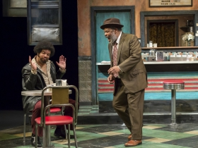 Wolf (Jefferson A. Russell) and Memphis (Raymond Anthony Thomas) in Milwaukee Repertory Theater's production of August Wilson's Two Trains Running April 16 – May 12, 2019