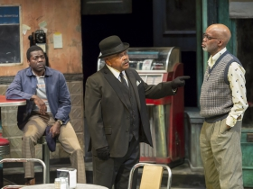 Sterling (Chiké Johnson), West (Doug Brown) and Holloway (Michael Anthony Williams) in Milwaukee Repertory Theater's production of August Wilson's Two Trains Running April 16 – May 12, 2019