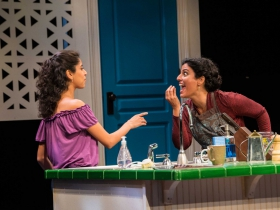 Milwaukee Repertory Theater presents The Who & The What in the Stiemke Studio from September 27 to November 5, 2017. Left to Right: Nikita Tewani and Soraya Broukhim