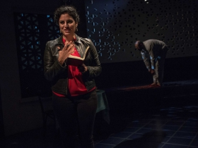 Milwaukee Repertory Theater presents The Who & The What in the Stiemke Studio from September 27 to November 5, 2017. Left to Right: Soraya Broukhim and Brian Abraham