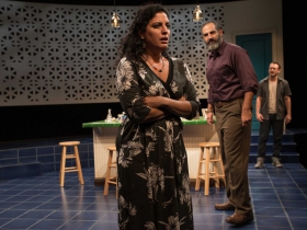 Milwaukee Repertory Theater presents The Who & The What in the Stiemke Studio from September 27 to November 5, 2017. Left to Right: Soraya Broukhim, Brian Abraham and Ben Kahre