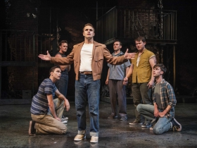Milwaukee Repertory Thater presents West Side Story in the Quadracci Powerhouse September 17 – October 27, 2019. Left to right: Alex Hatcher, Clay Roberts, Jacob Burns, Devin Richey, Alex Hayden Miller and Nick Parrott