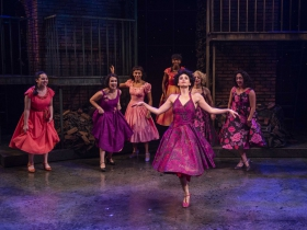 Milwaukee Repertory Theater presents West Side Story in the Quadracci Powerhouse September 17 – October 27, 2019. Left to right: Isabel Bastardo, Brooke Johnson, Reese Parish, Terynn Erby-Walker, Courtney Arango, Isabella Abel-Suarez and Gina dePool