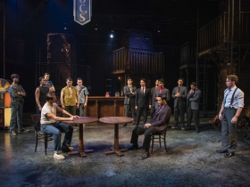 Milwaukee Repertory Theater presents West Side Story in the Quadracci Powerhouse September 17 – October 27, 2019. Left to right: Nick Parrott, Clay Roberts, Alex Hatcher, Jacob Burns,  Alex Hayden Miller, Devin Richey, Gilberto Saenz, Carlos Jimenez, Austin Winter, Mark Cruz, Jose-Luis Lopez, Jr., Joshua Ponce and AJ Morales