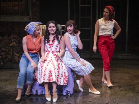 Milwaukee Repertory Theater presents West Side Story in the Quadracci Powerhouse September 17 – October 27, 2019. Left to right: Isabella Abel-Suarez, Liesl Collazo, Mara Cecilia and Brooke Johnson