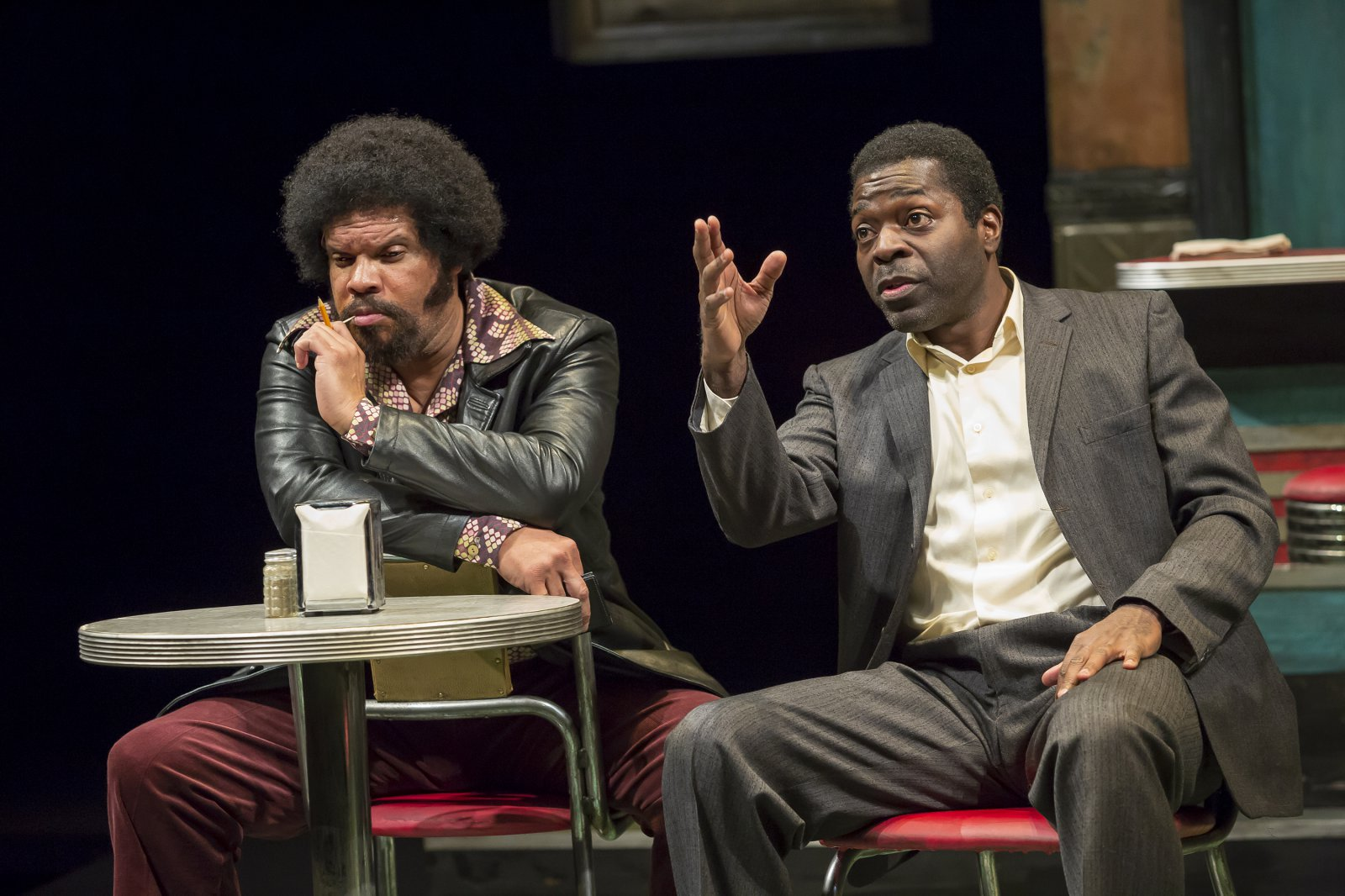 Wolf (Jefferson A. Russell) and Sterling (Chiké Johnson) in Milwaukee Repertory Theater's production of August Wilson's Two Trains Running April 16 – May 12, 2019