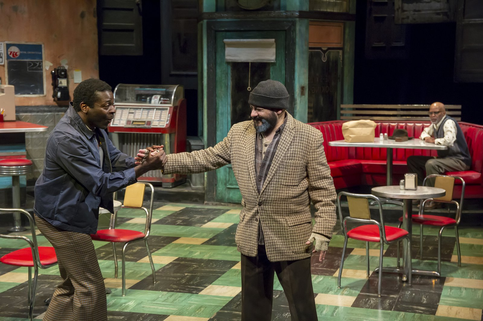 Sterling (Chiké Johnson), Hambone (Frank Britton) and Holloway (Michael Anthony Williams) in Milwaukee Repertory Theater's production of August Wilson's Two Trains Running April 16 – May 12, 2019
