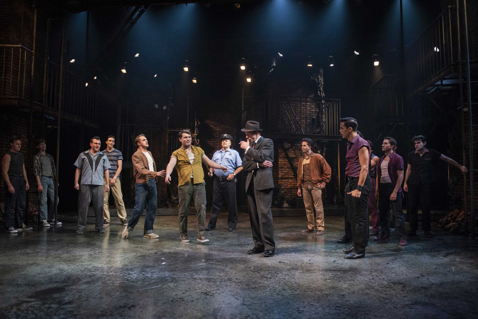 Milwaukee Repertory Theater presents West Side Story in the Quadracci Powerhouse September 17 – October 27, 2019. Pictured: Jonathan Wainwright with the company of West Side Story