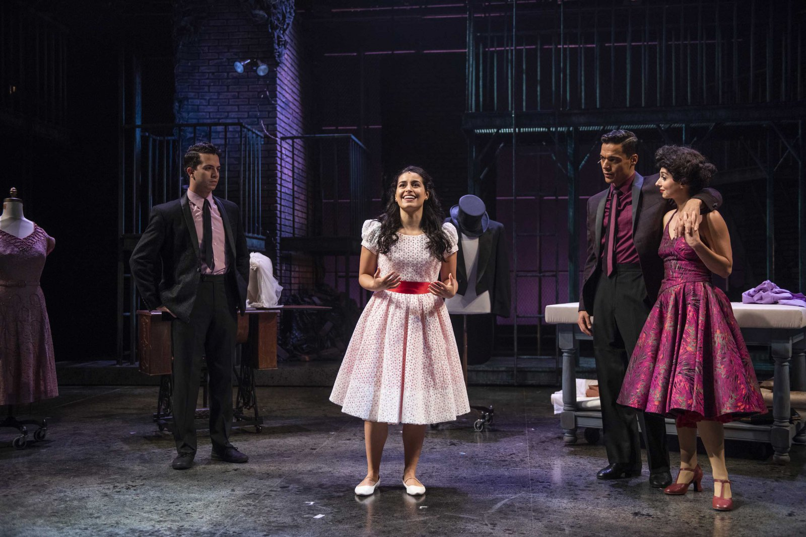 Milwaukee Repertory Theater presents West Side Story in the Quadracci Powerhouse September 17 – October 27, 2019. Left to right: Carlos Jimenez, Liesl Collazo, Jose-Luis Lopez, Jr. and Courtney Arango
