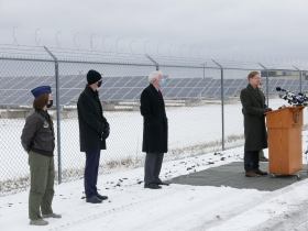 Ald. Scott Spiker speaks at the opening of a new solar installation at 1600 E. College Ave.