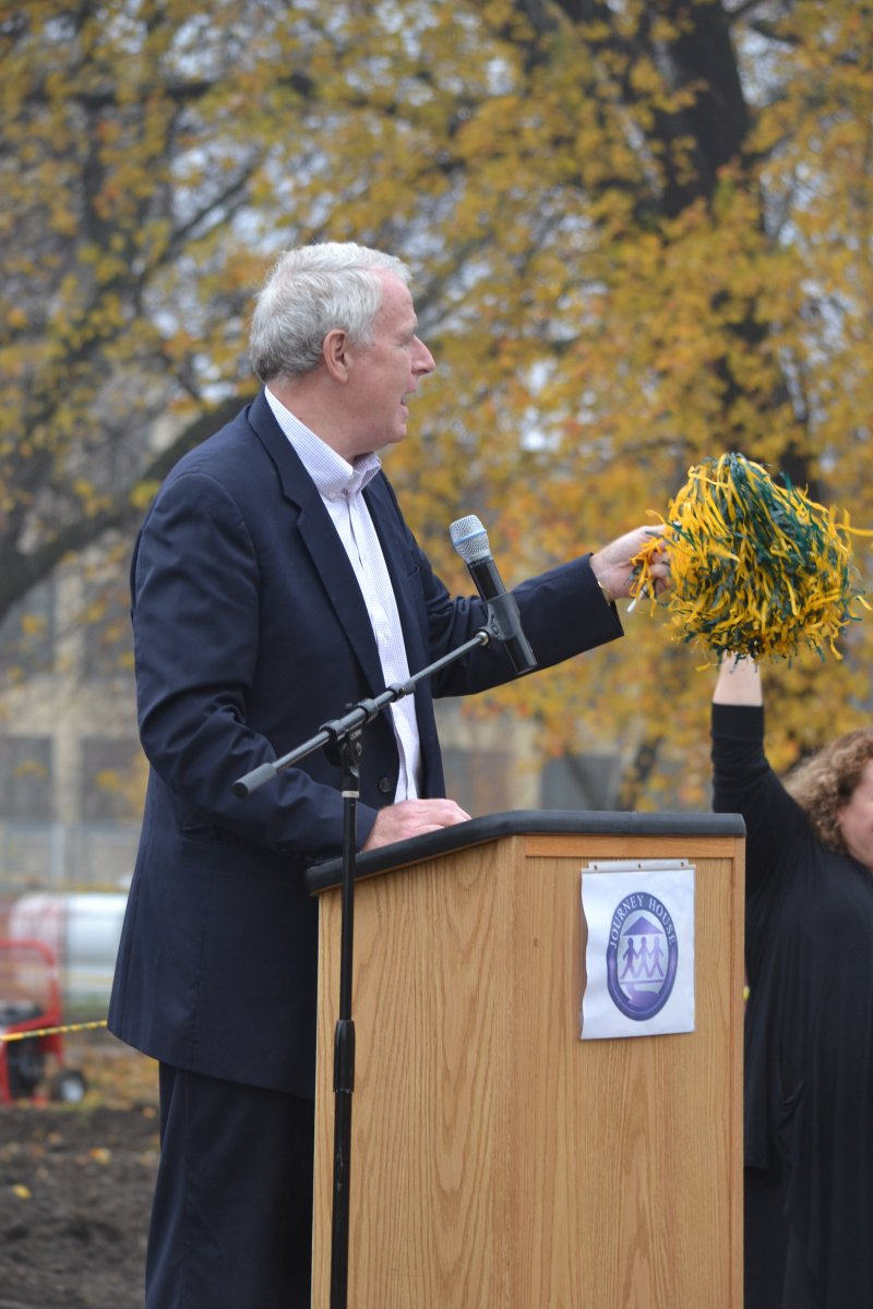 Mayor Barrett congratulates the Journey House for their efforts and new field