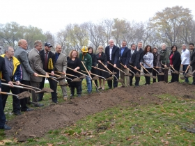 Stakeholders symbolically break ground on the new football field