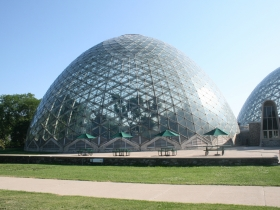 Mitchell Park Horticultural Conservatory, The Domes, are just across a bridge from Three Bridges Park.