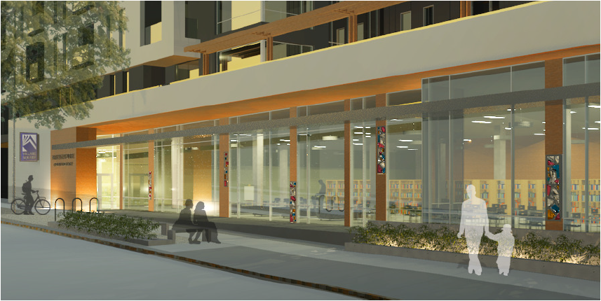The Standard at East Library - Rendering Entrance.