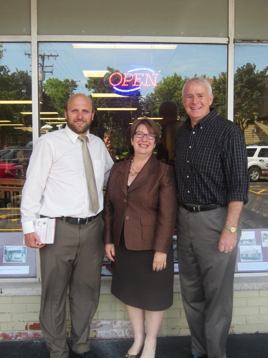 Alderman Kovac, Director Paula Kiely, and Mayor Barrett