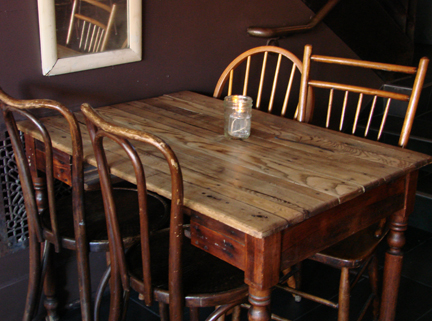 Antique table seating.