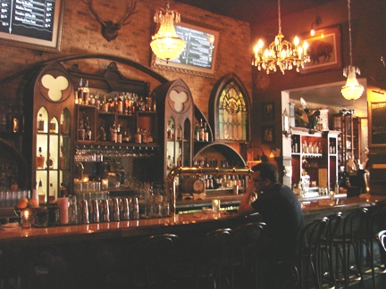 The back bar at Hotel Foster.