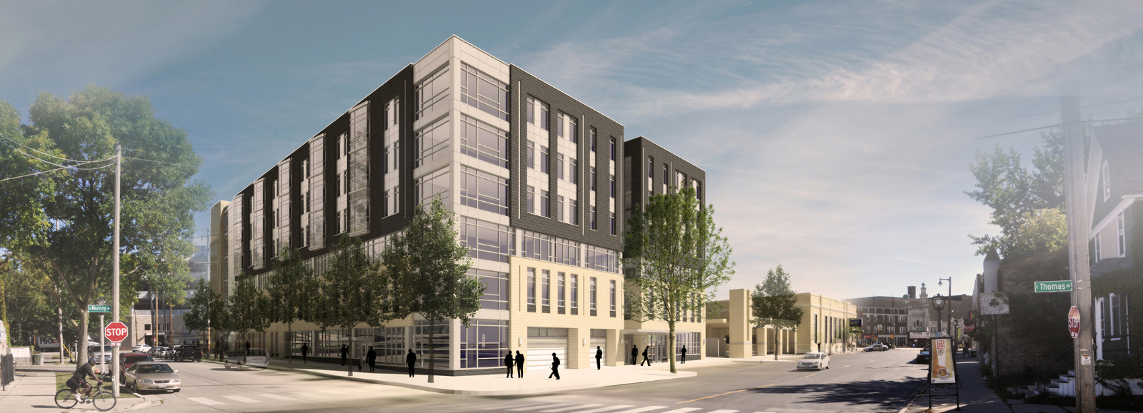 Northwest corner rendering of Greenwich Park Apartments with both phases completed.