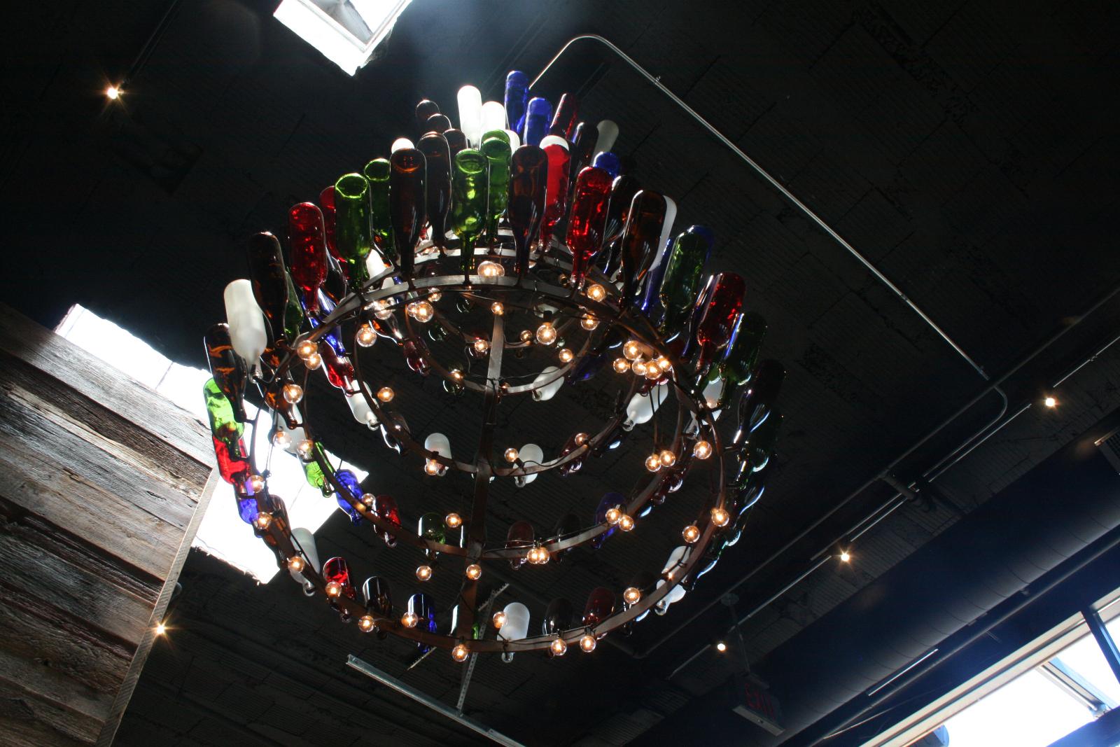Wine bottle chandelier.