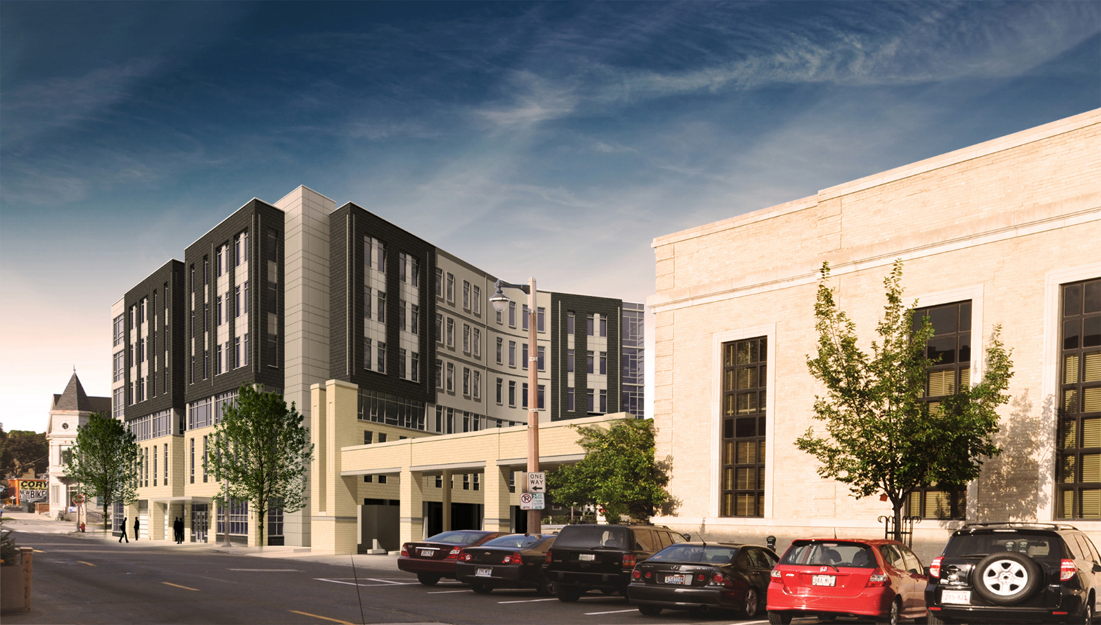 Southwest corner rendering of Greenwich Park Apartments with both phases completed.