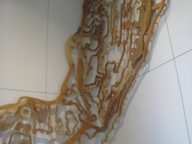 A topological map of the East Side by kathryn e. martin at the new East Library. Made out of trees cut down on the site to make way for the new building.