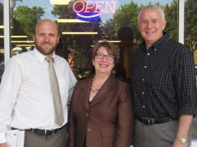 Alderman Kovac, Director Paula Kiely, and Mayor Barrett