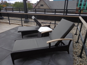 The rooftop deck was outfitted nicely with these loungers.
