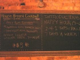 House kegged cocktail board.