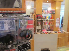 The Tool Shed emphasizez the availability of men's toys on their website and in their displays.