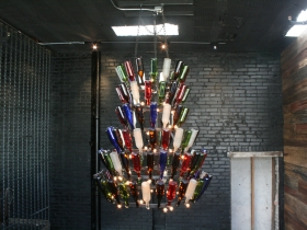 Wine bottle chandelier.