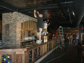 Work continues on the main bar area.
