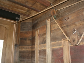 Pulley system in entry to Pizza Man.
