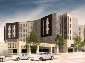 Southeast corner rendering of Greenwich Park Apartments with both phases completed.