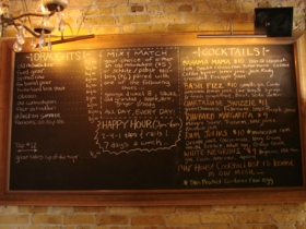 Specials board at Hotel Foster.