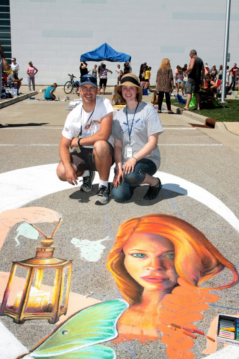 Chalk artists, Craig and Jamie Rogers from Richland Center, WI